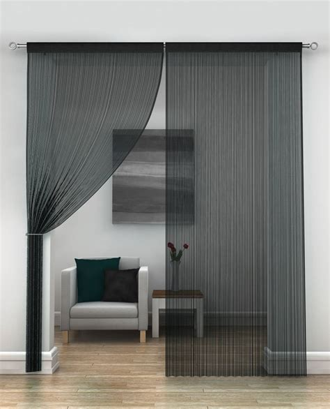 black string curtains  pair net curtain  curtains