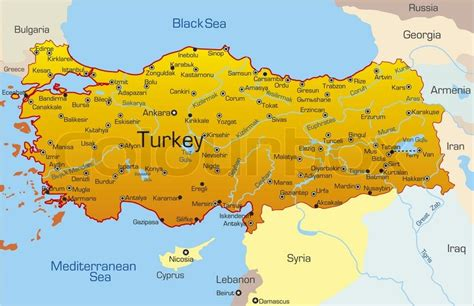 vector map  turkey country stock vector colourbox