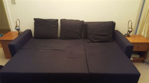 ikea sofa bed lugnvik black  good condition  chaise