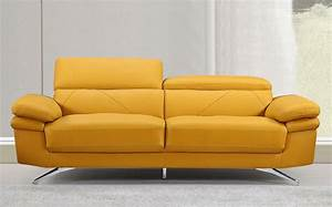 Everett modern style yellow leather sofa for Yellow leather sofa bed