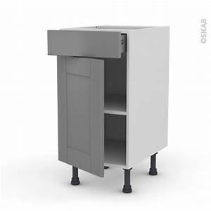 Frein De Porte De Cuisine : meuble de cuisine bas filipen gris 1 porte 1 tiroir l40 x ~ Edinachiropracticcenter.com Idées de Décoration