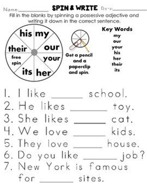 possessive adjectives common cores worksheets and grade