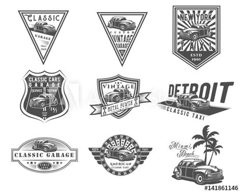 Vector Set Of Classic American Car And Taxi Cab For Logo