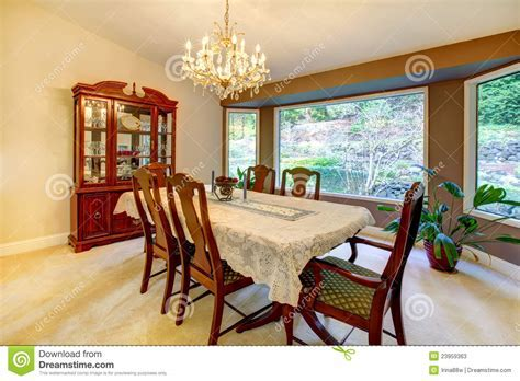 Dining Room With Large Window In American House. Stock
