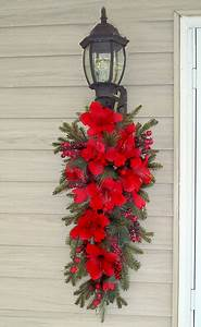 christmas amaryllis holiday door swag cr4666 floral home With decorating outdoor garage lights for christmas