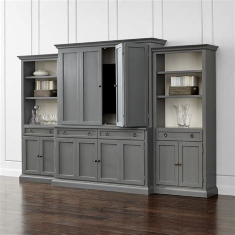 cameo 4 grey storage bookcase entertainment center