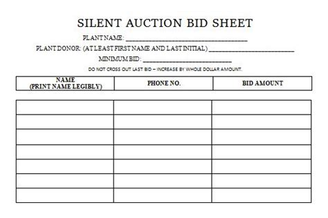 blank silent auction bid sheet silent auction bid sheets