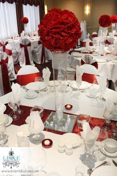 burgundy  white tall wedding centerpiece wedding