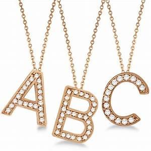 Custom tilted diamond block letter initial necklace 14k for Custom letter necklace gold