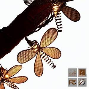 Dragonfly Patio Lights String Lidore Set Of 10 Vintage Style New Metal Dragonfly String