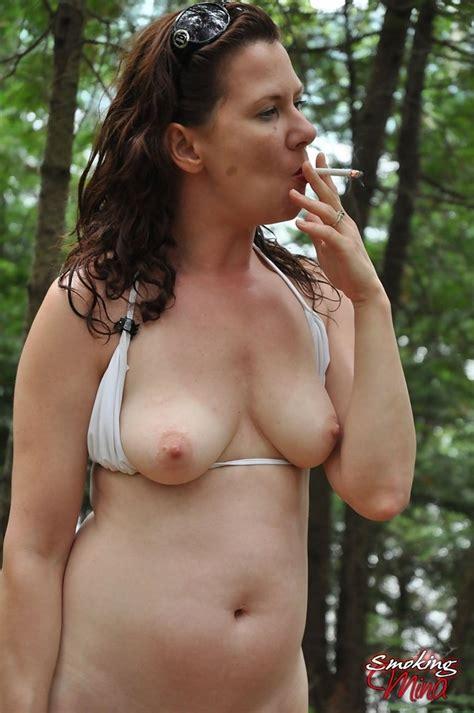 Sexy Milf Mina Gorey Enjoys A Smoke In The Woods Of
