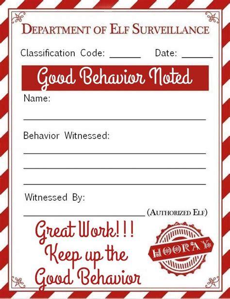 elf   shelf good behavior note printable