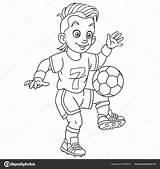 Coloring Football Player Cartoon Footballer Playing Colouring Colorear Boy Jugando Futbol Dibujos Colorir Dessin Imagenes Coloriage Coloritura Soccer Fussballer Childish sketch template