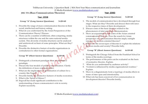 Journalism Questions by Questions Of Journalism And Mass Communication Tribhuvan
