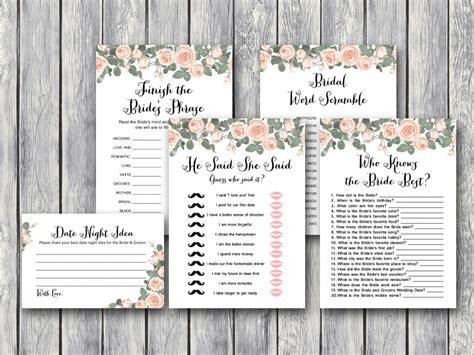 Pink Floral Bridal Shower Game Printable