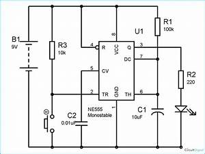 Simple Time Delay Circuit Diagram Using 555 Timer In 2019