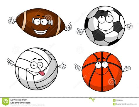 Cartoon Isolated Sport Balls Characters Stock Vector
