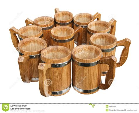 wooden mugs stock image image  beer brown objects