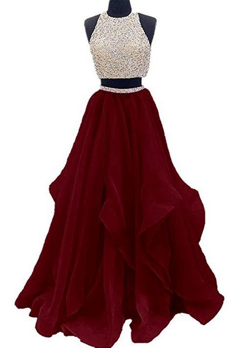 piece floor length burgundy prom dress beaded open