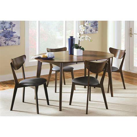 modern dark walnut wood oval dining table leaf set