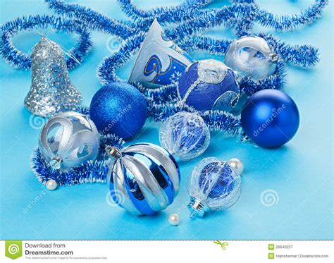 many christmas decorations toys on light blue royalty free