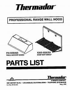 Thermador Professional Range Wall Hood Parts