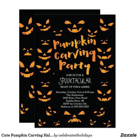 Cute Pumpkin Carving Halloween Party Invitation Zazzle