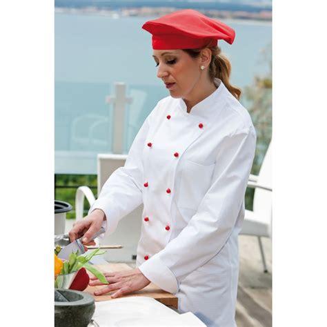 femme cuisine veste de cuisine femme col officier poche poitrine 100 coton