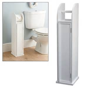 free standing white storage cabinet toilet roll holder bathroom rack stand