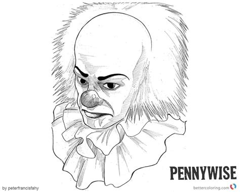 black and white coloring pages pennywise coloring pages fan black and white clipart