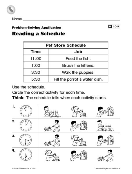 reading a schedule worksheet for 1st 2nd grade lesson planet