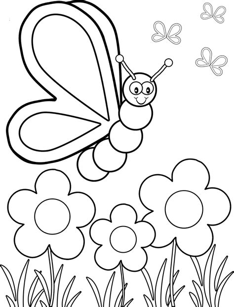butterfly and flower coloring pages for preschool coloring