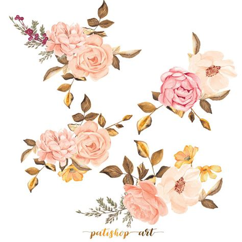 watercolor flower clipart roses arrangement clipart painted bouquet commercial use a2