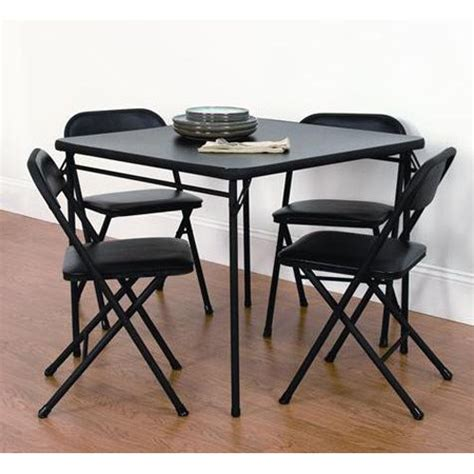 card table chairs set mainstays 5 piece card table and chair set black