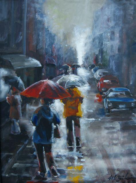 mitzi lai artwork rainy day shopping  tokyo original
