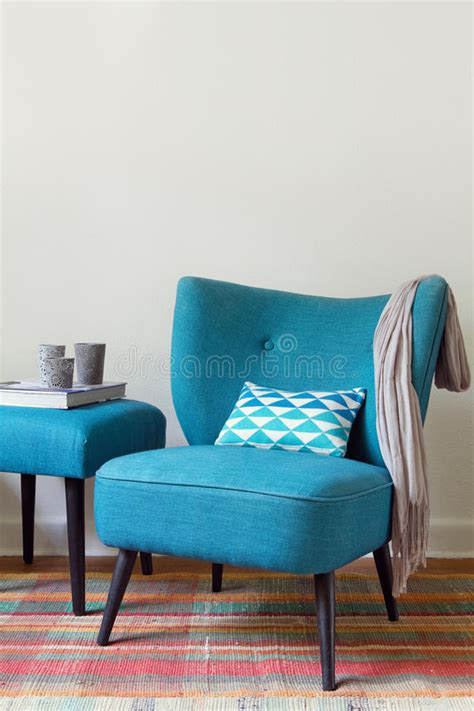 teal armchair and footstool retro teal armchair and matching ottoman with decor