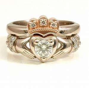 stacking claddagh engagment wedding ring set moissanite With diamond claddagh wedding ring sets