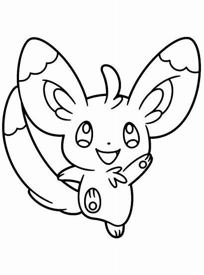 Pokemon Kleurplaten Ausmalbilder Noir Coloriages Coloring Minccino