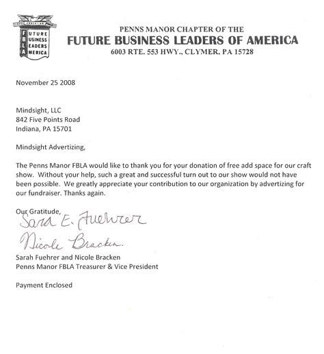 fbla cover letter format business thank you note letter new calendar template site