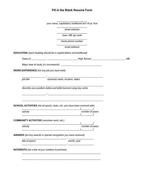 blank resume worksheet for high school students resume
