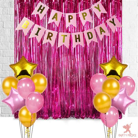 Balloons can be the decorations or even be birthday cards. 17Pcs Happy Birthday Foil Curtain, Banner And Balloons Decoration Items Combo For Birthday Party ...