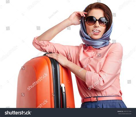 Elegant Woman Suitcase Travel Stock Photo 265151744