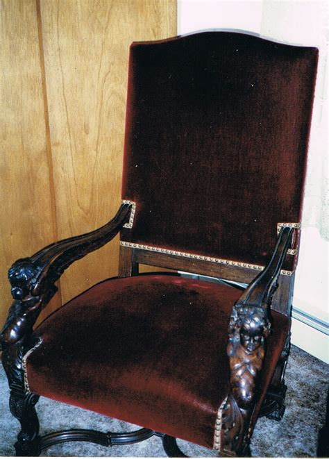 a 51 quot oak open arm chair quot bishops chair quot velvet