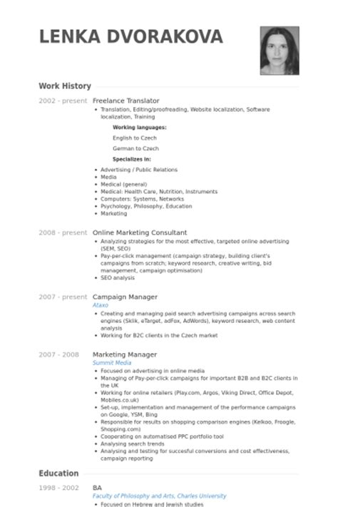 freelance translator resume sles visualcv resume
