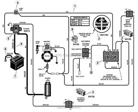 murray 309029x51a mid engine rider 2002 parts diagram for electrical system