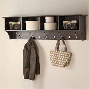 Prepac 60 in wall mounted coat rack in espresso eec 6016 for Kitchen cabinets lowes with hanging heavy wall art