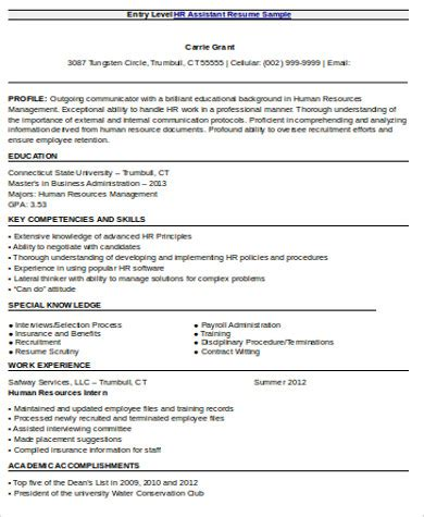 entry level resume objective templates  ms word