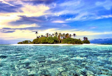 Fantasy Island! Photograph of a tiny island in the ...