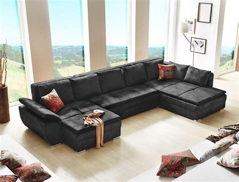 Wohnlandschaft Schwarz 395x210 U Form Schlafsofa Couch