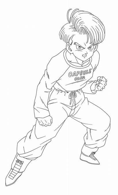 Trunks Dragon Ball Future Lineart Teen Goku